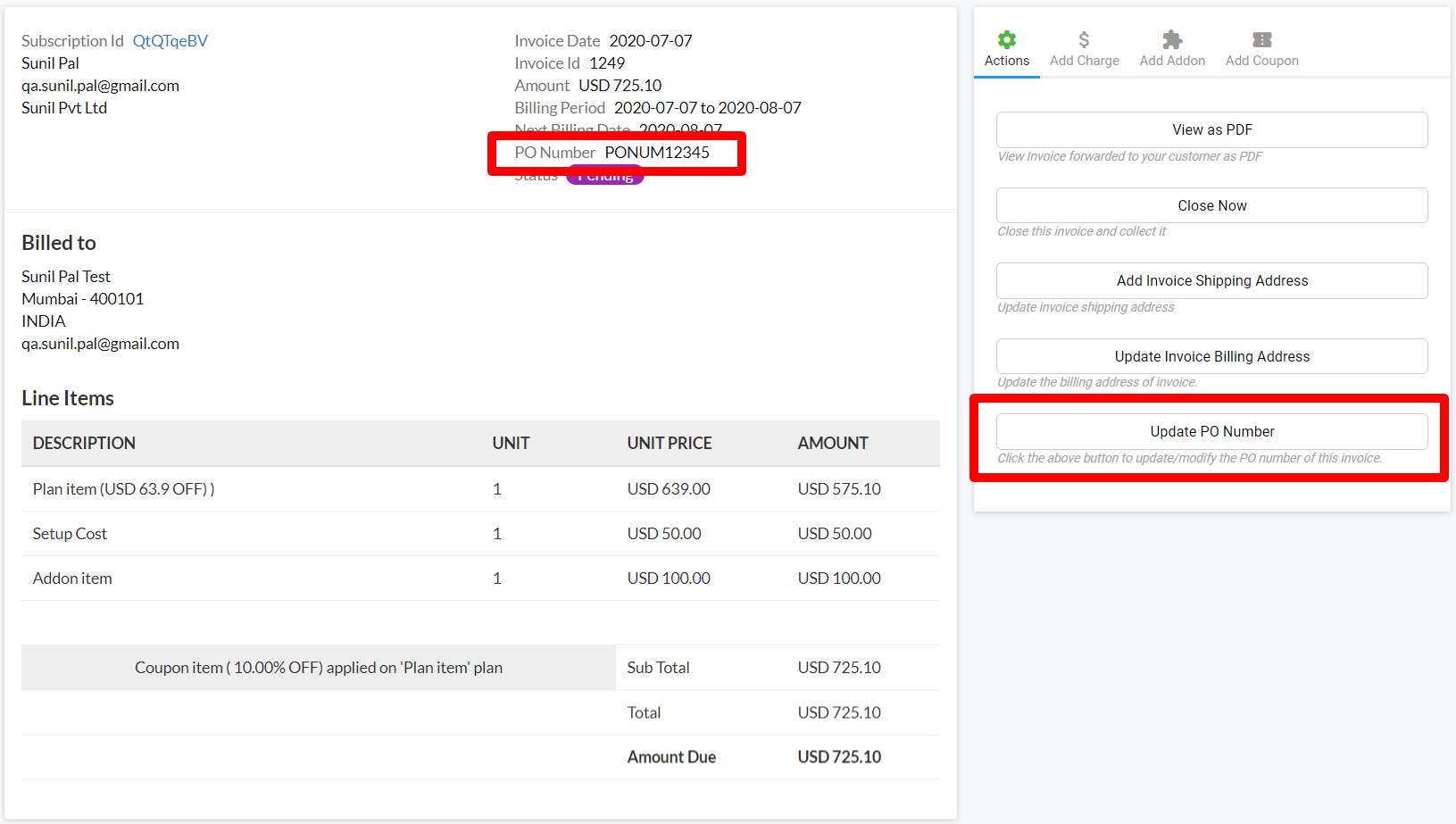 Purchase Order Number   Chargemonk Docs
